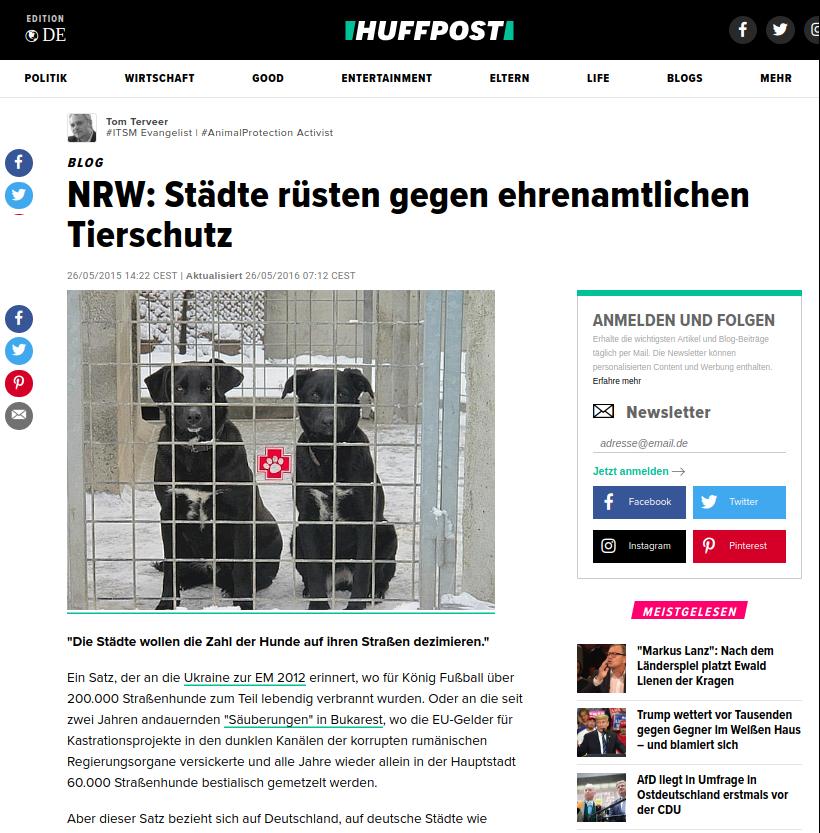 Titelbild der Huffington Post aus 2016