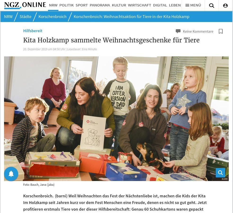 Kita Holzkamp sammelte Weihnachtsgeschenke für Tiere, 20.12.2019, NGZ