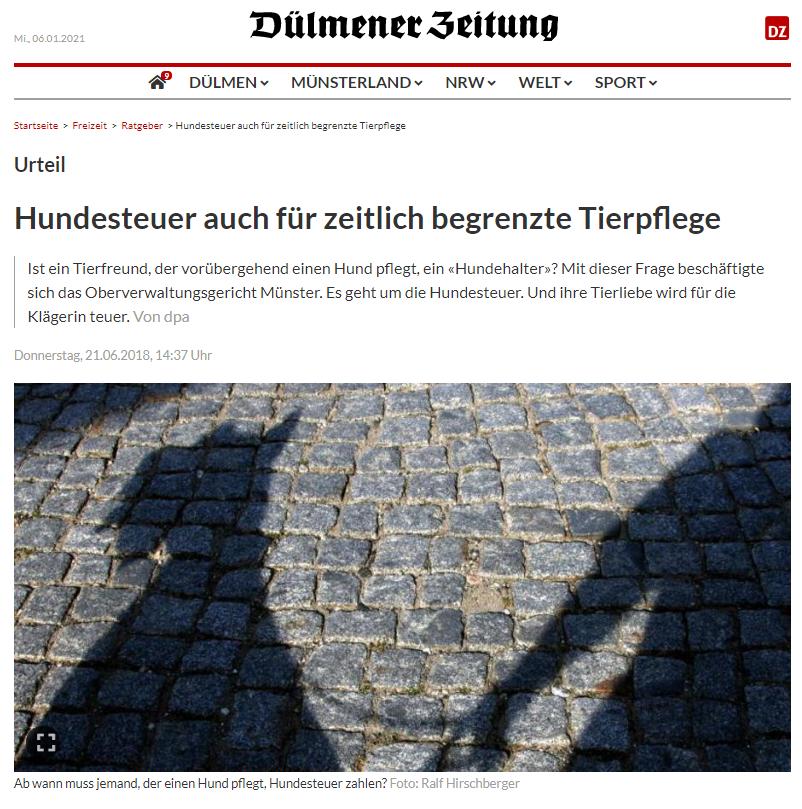 Dülmener Zeitung: Hundesteuer auch für zeitlich begrenzte Tierpflege