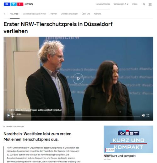 RTL West - Notpfote erhält Tierschutzpreis 2021